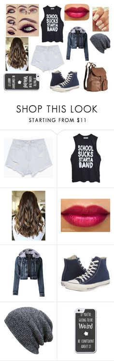 """""""Bands a make her dance"""" by ownworldowngirl ❤ liked on Polyvore featuring beauty, Zara, High Heels Suicide, LE3NO, Converse, KBETHOS and H&M"""