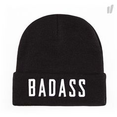 Beastin BadAss Beanie Black White ) ❤ liked on Polyvore featuring beanies and hats