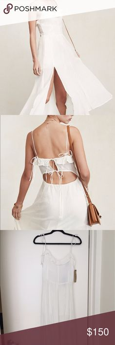 Reformation Selma Dress in Medic(white) Breezy white sundress with tie straps on shoulders and back. Cutout in back. Sheer white with lining and built in shorts. Brand new, never worn. Reformation Dresses Midi