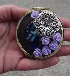Make Up Compact Mirror by PiecesofhomeMosaics on Etsy, $35.00