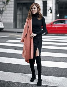 turtleneck sweater dress 2017 with coat
