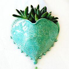 Hanging Planter Ceramic Wall Pocket Heart by TheBabyHandprintCo