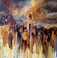 the feeding of the 5000 art Spiritual Paintings, Religious Paintings, Religious Art, Christian Paintings, Christian Artwork, Lds Art, Bible Art, Jesus Painting, Prophetic Art
