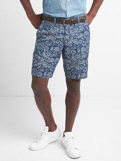 """Gap Mens Linen-Cotton Floral Shorts (10"""") Tropical Blue"""