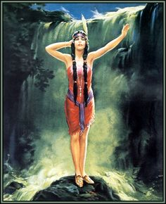Image result for red indian woman fantasy with waterfall