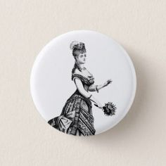 Victorian lady with plume badge pinback button - retro gifts style cyo diy special idea