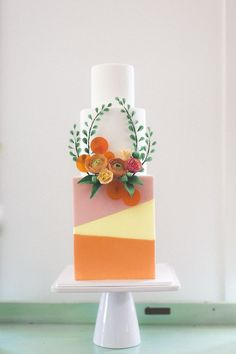 Color-blocked wedding cake