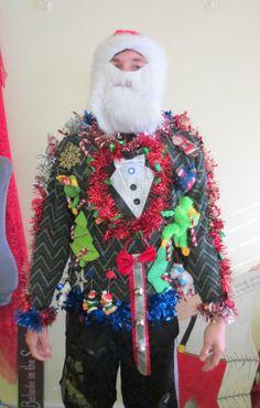 3-D Tacky Ugly Christmas Sweater Frankenstein  Singing Polar Bear Green Monkey Garland  Light Up  Bells Hysterical mens womens sz L