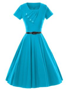 GownTown Retro Vintage Short Sleeve Party Swing Stretchy Dresses,Blue,X-Large Vestidos Vintage, Vintage Dresses, Vintage Outfits, Vintage Fashion, African Fashion Dresses, African Dress, Fashion Outfits, Prom Outfits, Pretty Outfits