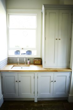 Cabinets conceal dishwasher, washing machine and boiler. Cottage Kitchens, Home Kitchens, Boiler Cover Ideas, Bathroom Cupboards, New Kitchen, Kitchen Ideas, New Homes, Modern, Cupboard Ideas