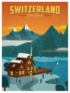 Vintage Switzerland Travel Poster by Alex Asfour Lake Geneva Switzerland, Switzerland Tourism, Switzerland Vacation, Fürstentum Liechtenstein, Vintage Ski Posters, Retro Posters, Tourism Poster, Advertising Poster, Places To Travel