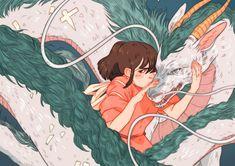 Spirited Away (千と千尋の神隠し) Studio Ghibli (Hayao Miyazaki) Anime Movie Studio Ghibli Art, Studio Ghibli Movies, Animation, Manga Anime, Anime Art, Chihiro Y Haku, Manga Dragon, Anime Kunst, Howls Moving Castle