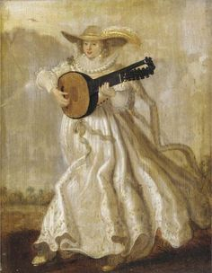 Adriaen Pietersz van de Venne (Dutch, 1589-1662) ~ A lady dancing and playing the lute in a landscape