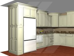 "Build in your refrigerator with a 12"" deep pantry, adjacent to your fridge. This is a great way to conceal a deep fridge, and offer pantry storage. Use decorative door panels, to finish the side. #kitchen #cabinets #pantry"