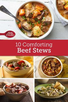 From ground beef vegetable stew to beef and bacon stew for two, these recipes don't just warm you up from head to toe, they're heart-warming, too! Slow Cooker Recipes, Crockpot Recipes, Soup Recipes, Dinner Recipes, Cooking Recipes, Recipies, Dinner Ideas, Vegetable Stew, Beef Dishes