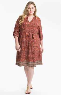Lucky Brand Roll Sleeve Print Dress (Plus) available at Nordstrom