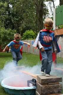 "Superhero Party ~ cinder blocks + 2x4 across a kiddie pool [red food coloring added to shallow water], use fog machine to create a ""hot lava pit"" [the hit of the party]"