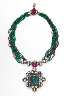 Amrapali- multi-strand Zambian Emerald, Diamond and Ruby Necklace with Large Diamond and carved Zambian Emerald Pendant