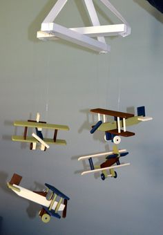 Airplane Nursery Mobile Bi-Plane Custom Wood Biplanes Planes Flight Theme Travel Decor Aviation Transportation Vintage Baby Shower Gift FlutterBunnyBoutique