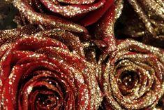 gold glittered roses.
