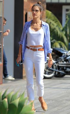 Alessandra Ambrosio proves white jeans are worth the risk in this cropped with a side of raw hem style.