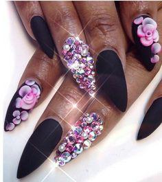 Black matte pink floral rhinestone nails @queenofnails