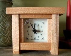 Mantel Clock Wood Clock Bungalow Clock Craftsman by TanteandOom, $47.00
