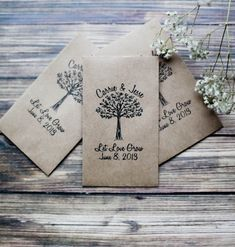 Many people give out seeds as wedding favors because not only are they affordable, but they're also an eco-friendly gesture. However, keep in mind that not everyone has the space in their home or a yard to grow plants. You can make the seed packets yourself or buy customized ones online. We found these cute kraft-seed envelopes on Etsy that are selling for $90 per 100 pieces — that's $0.90 per envelope.  Source: Etsy user RedCloudBoutique