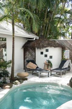 Poolside with tropical feel  #pool #poolside #lounge