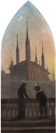 Carl Gustav Carus - Personen in altdeutscher Tracht in Betrachtung einer mittelalterlichen Stadt.