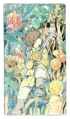 Hayao Miyazaki - Shuna no Tabi Hayao Miyazaki, Studio Ghibli Art, Studio Ghibli Movies, Totoro, Anime Manga, Anime Art, Illustration Art, Character Illustration, Girls Anime