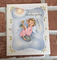 Used Vintage Angel Playing Harp On Music Note Christmas Greeting Card