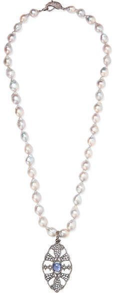 Loree Rodkin - 18-karat Rhodium White Gold Multi-stone Necklace. Pearl Jewelry. I'm an affiliate marketer. When you click on a link or buy from the retailer, I earn a commission.