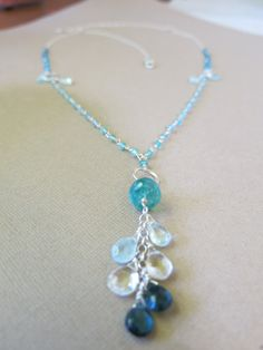 Apatite, Quartz and Topaz necklace.  Blue and green Apatite, clue and clear Quartz and blue Topaz with sterling silver components. www.sarahwalkerjewelry.com