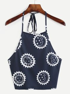 To find out about the Print Halter Neck Backless Crop Cami Top at SHEIN, part of our latest Tank Tops & Camis ready to shop online today! Cami Tops, Blue Crop Tops, Halter Crop Top, Cami Crop Top, Halter Neck, Vest Tops, Women's Tops, Crop Tank, Trendy Outfits