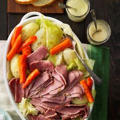 Favorite Corned Beef and Cabbage Recipe -It may be the most famous dish to eat on St. Patricks Day, but this Irish-American classic is a favorite at our table all year long. —Evelyn Kenney, Trenton, New Jersey cabbage recipes Corned Beef Brisket, Corned Beef Recipes, Meat Recipes, Dinner Recipes, Cooking Recipes, Slow Cooking, Dinner Ideas, Entree Recipes, Gourmet