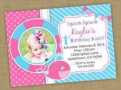 DIY Printable Girlie Pink Whale Invitation by QTpartyDesigns, $10.00