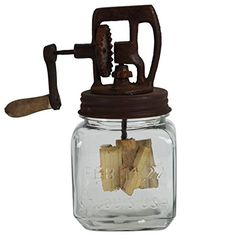 Rustic Antique Style Dazey Glass Hand Crank 1 Quart Butter Churn Primitive Decor ** Click on the image for additional details. Note:It is Affiliate Link to Amazon.