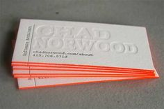 Lovely Edge Painted Letterpress Business Cards in orange