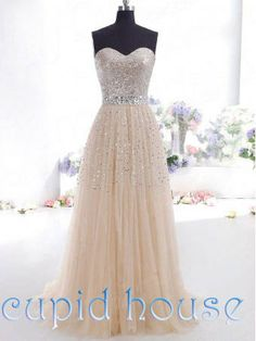Sexy Cheap Sequins Beaded Champagne Prom Dress Simple Sweetheart A-line Long Floor-length Homecoming Dress Evening Dress 2014