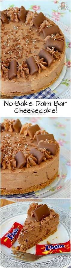 No-Bake Daim Bar Cheesecake! ❤️ A Chocolatey, Caramelly & Almond No-Bake Cheesecake, all based around the wondrous Daim Bar! No-Bake Daim Bar Cheesecake! ❤️ A Chocolatey, Caramelly & Almond No-Bake Cheesecake, all based around the wondrous Daim Bar! No Bake Desserts, Delicious Desserts, Dessert Recipes, Yummy Food, Baking Desserts, Cheesecake Bars, Cheesecake Recipes, Raspberry Cheesecake, Cupcakes