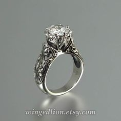 The ENCHANTED PRINCESS White Sapphire 14K gold by WingedLion, $1,815.00