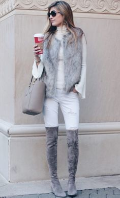 winter outfit: fur vest and taupe suede over the knee boots