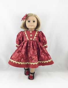 American Girl Other 18 Christmas Dress Deep Red by dressurdolly2