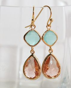 Pink Champagne and Mint Wedding Gold Earrings, Peach Mint Teardrop Earrings, Faceted Mint Peach Glass Drops bezel set earrings, Bridal, Gift. $29.50, via Etsy.