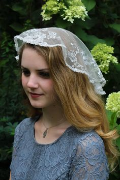 Orcle Floral Lace Veils Head Covering Latin Mass Mantilla Veils Short Scarf for Bridal Black