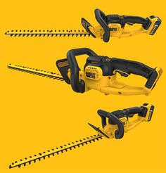 Cordless hedgetrimmer powered by Dewalt& max powertool battery.