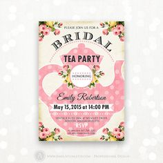 "Printable Bridal TEA Party Bridal SHOWER Invitation by AmeliyCom, $20.00 Printable Bridal SHOWER Honoring Invitation, Bridal BRUNCH Invite Editable DIY INSTANT DOWNLOAD Bridal TEA Party Flyer 5x7 - Just print cut and ready to go!   Editable Bridal Shower Invitation #14 Retro Rose & pink polka dots You can change the title to ""Bridal TEA PARTY"", ""Bridal BRUNCH"", ""Bridal SHOWER"" and etc.  ・・・・・ Editable PDF ・・・・・"