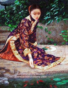 Chinese Lady, hand embroidered silk art, handmade embroidery painting, all hand embroidered with silk threads, Suzhou China, Su Embroidery Studio