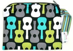 Small 9 x 7 Wet bag / Snack / Swim / Diapers / Michael Miller Lagoon Groovy Guitar Fabric / SEALED SEAMS and Snap Strap. $15.00, via Etsy.